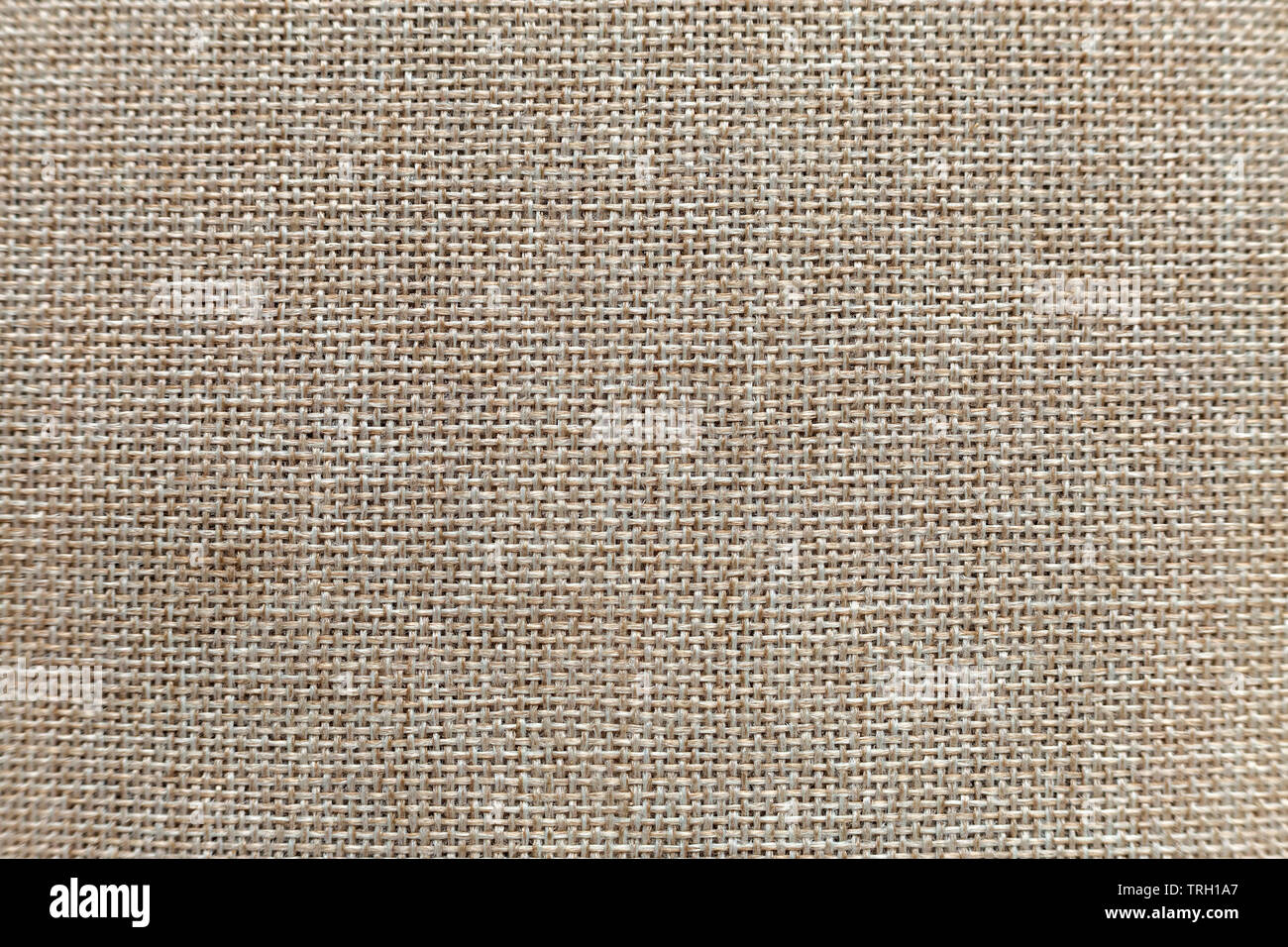 Gray beige linen canvas surface background. Sackcloth design, ecological cotton textile, fashionable woven flex burlap. - Stock Image