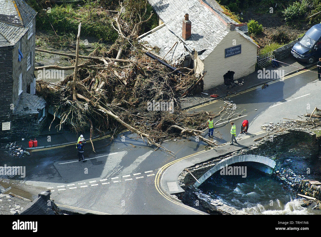 17.08.2004 - The scene at Boscastle in Cornwall, UK, this morning after yesterday's devastating flood. - Stock Image