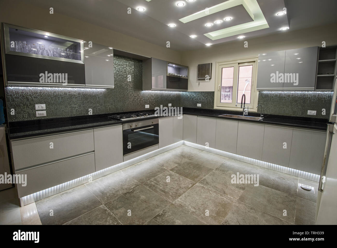 Interior design decor showing modern kitchen and appliances in