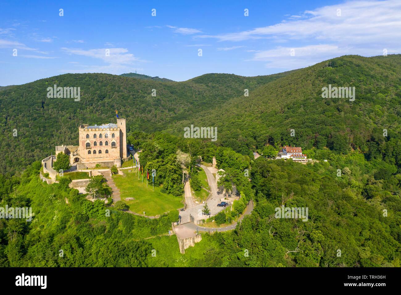 Aerial view of Hambach Castle (German: Hambacher Schloss), symbol of the German democracy, Neustadt an der Weinstraße, Rhineland-Palatinate, Germany - Stock Image