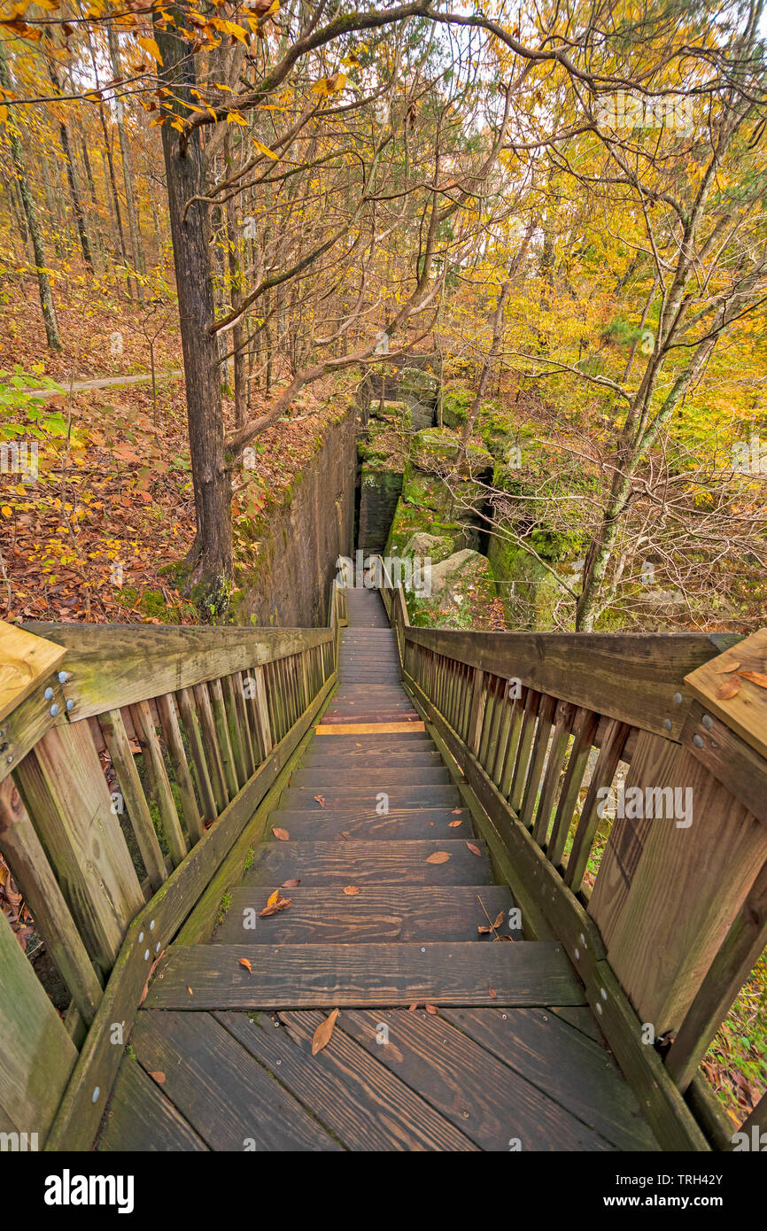 Stairs into a Narrow Passage on the Rim Rock National Trail in Shawnee National Forest in Illinois Stock Photo