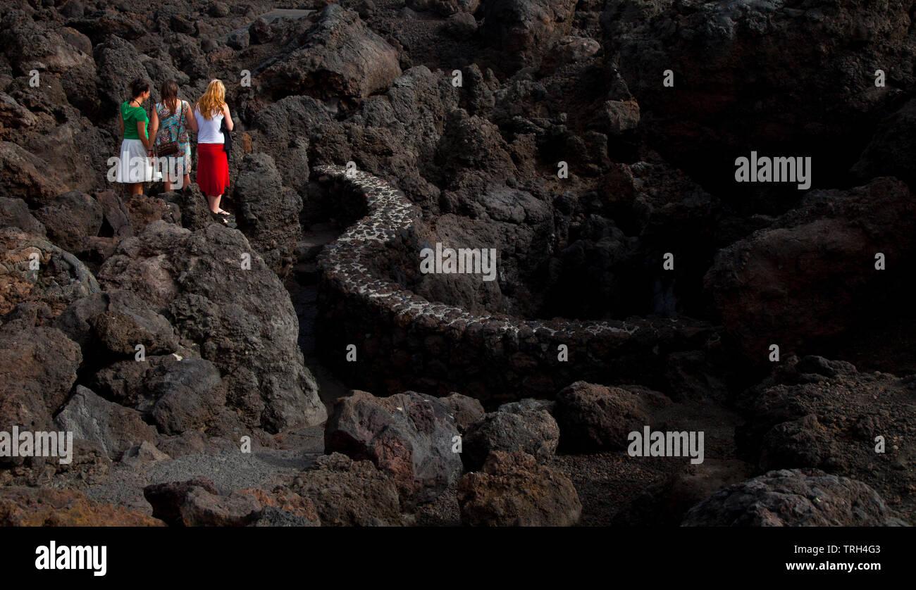 Paisaje volcánico Los Hervideros. Isla  Lanzarote. Provincia Las Palmas. Islas Canarias. España Stock Photo