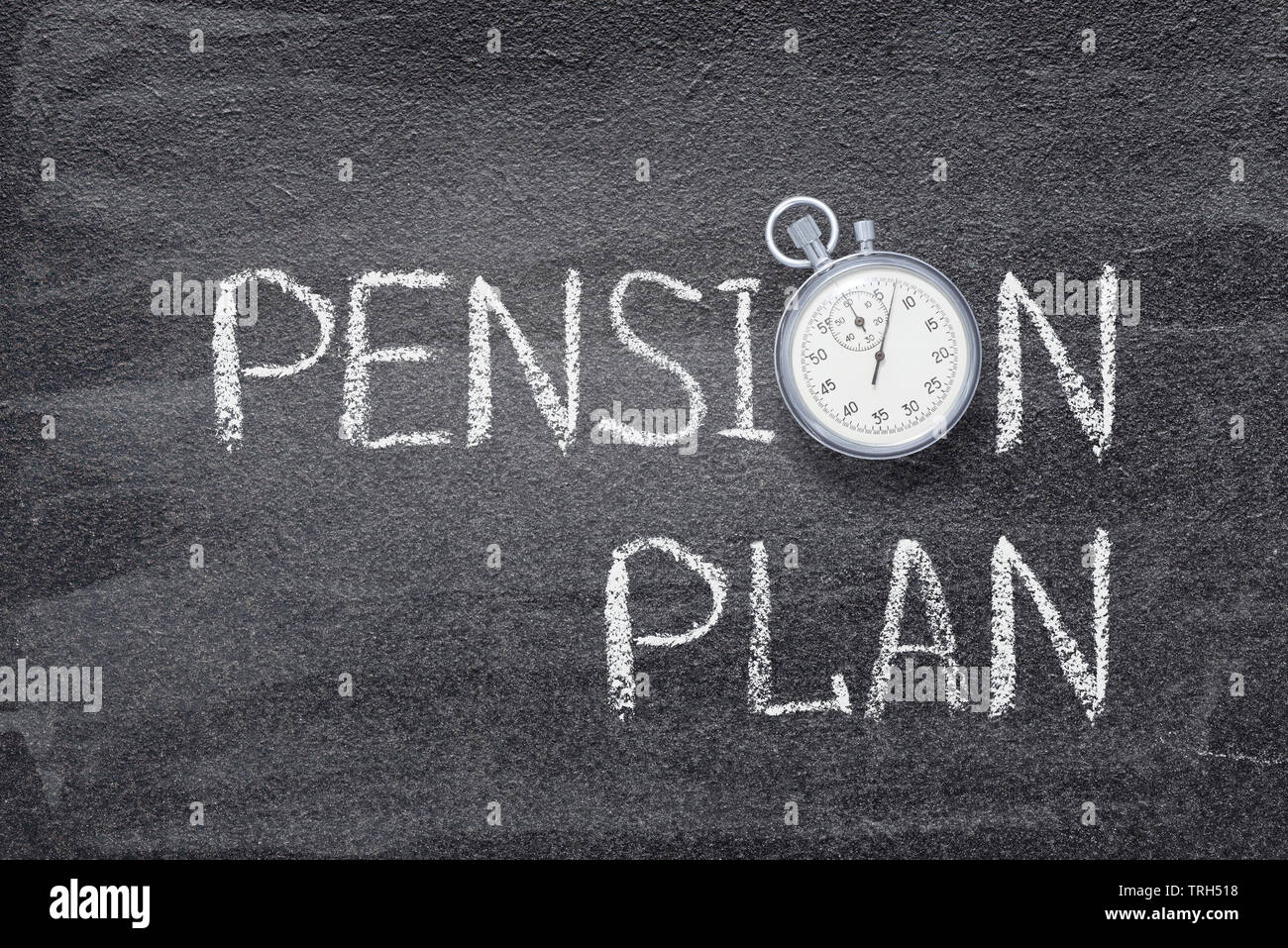 pension plan phrase written on chalkboard with vintage stopwatch used instead of O - Stock Image