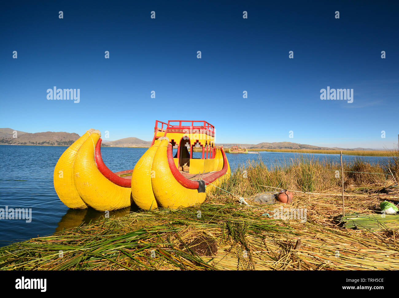 View of Reed boat on Island of Uros. Lake Titicaca,  Peru - Stock Image