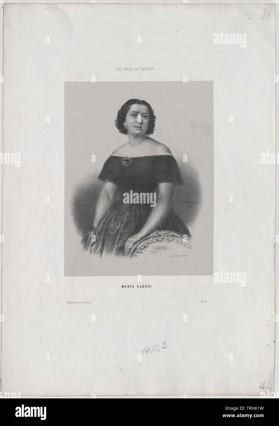 Alboni, Marietta, Italian opera singer (alto), member of the Viennese opera 1843-1845, if of the Parisian Italian opera,19th century, personality, celebrities, further, other, people, half-length, half length, woman, women, female, opera singer, opera singers, member, members, opera, operas, Additional-Rights-Clearance-Info-Not-Available - Stock Image