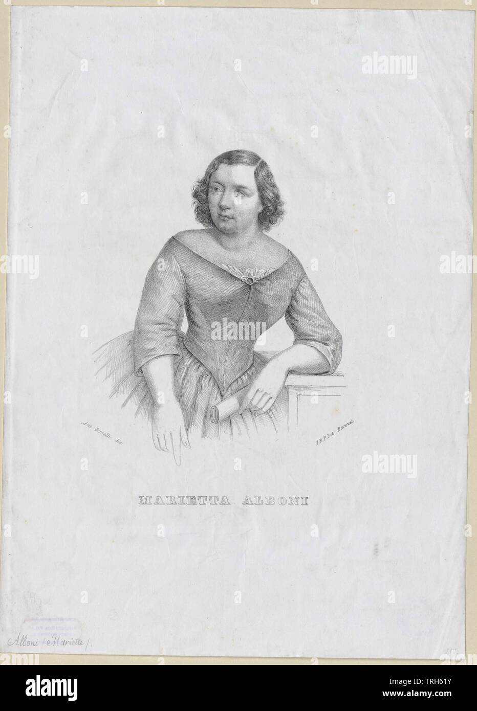Alboni, Marietta, Italian opera singer (alto), member of the Viennese opera 1843-1845, if of the Parisian Italian opera,personality, celebrities, further, other, 19th century, people, half-length, half length, woman, women, female, opera singer, opera singers, member, members, opera, operas, Additional-Rights-Clearance-Info-Not-Available - Stock Image