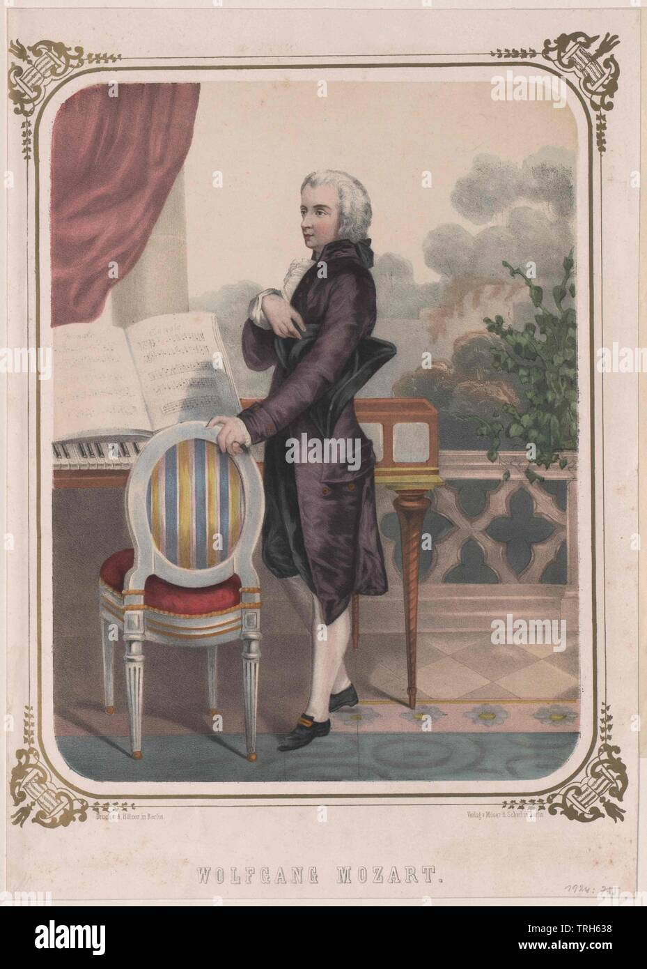 Mozart, Wolfgang Amadeus, full-length well-nigh left profile, in front of spinet standing. drawing by Edouard Hamman. background version to Pg 450: I (36), colour printing A. Hoelzer-Berlin,composer, composers, culture, cultures, artist, artists, musicians, personality, celebrities, musician, further, other, Viennese classicism, people, full-length, full length, 19th century, man, men, male, manly, whole, entirety, the whole thing, the whole issue, character, characters, spinet, spinets, colour printing, colour print, chromatic printing, Holzer-B, Additional-Rights-Clearance-Info-Not-Available - Stock Image