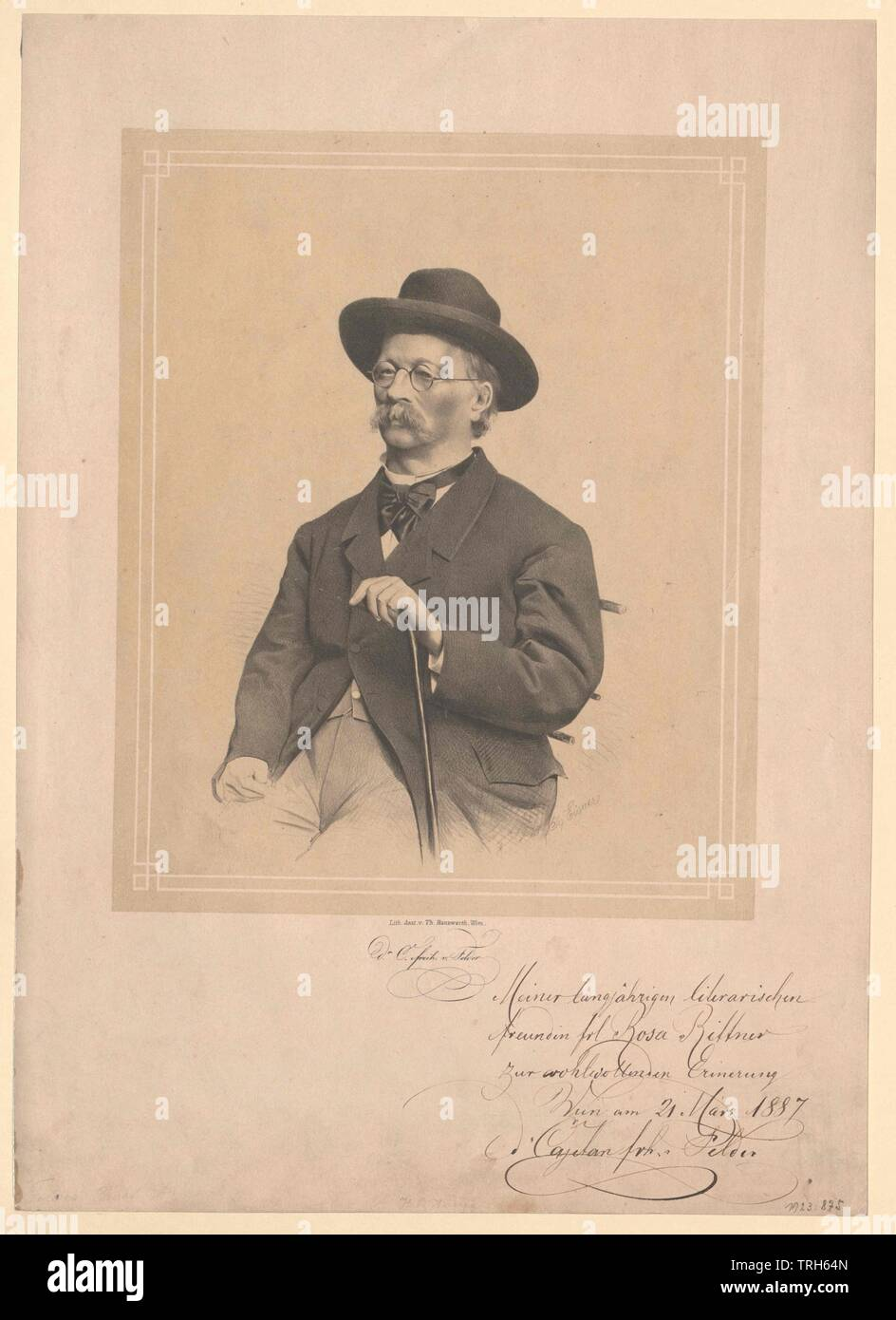 Felder, Cajetan Baron of (1814-1894), assemblymen, deputy, assemblyman, office holder, officeholder, office holders, officeholders, politics, policy, politician, politicians, people, half-length, half length, man, men, male, manly, 19th century, Additional-Rights-Clearance-Info-Not-Available - Stock Image