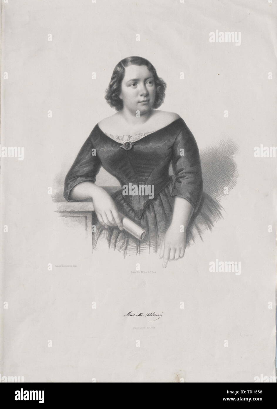 Alboni, Marietta, Italian opera singer (alto), member of the Viennese opera 1843-1845, if of the Parisian Italian opera,personality, celebrities, further, other, 19th century, 20th century, people, half-length, half length, woman, women, female, opera singer, opera singers, member, members, opera, operas, Additional-Rights-Clearance-Info-Not-Available - Stock Image