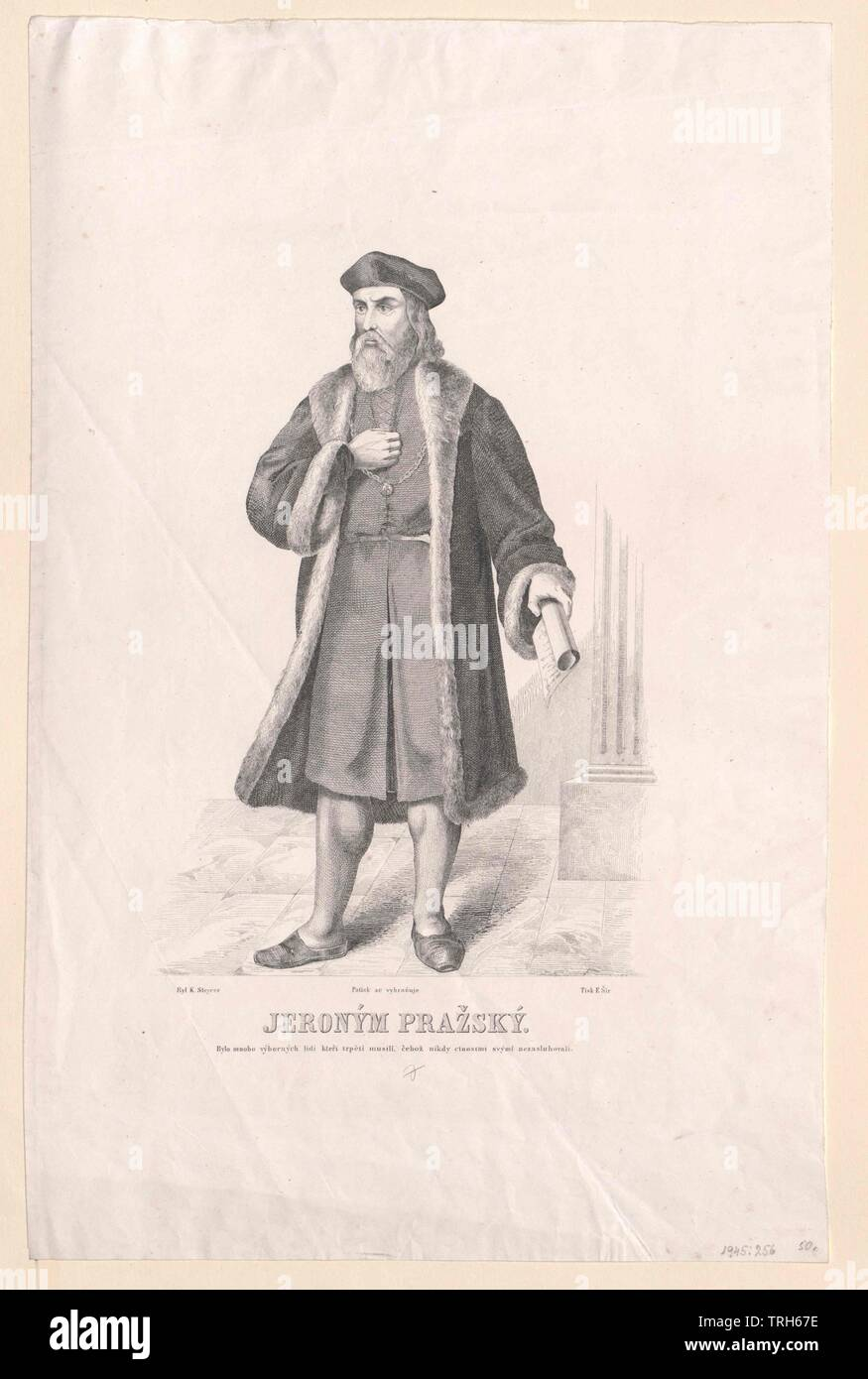 Jerome of Prague,ecclesiastic, chaplain, chaplains, false teachers, reformer, theology, people, full-length, full length, man, men, male, manly, Prague, Praha, Additional-Rights-Clearance-Info-Not-Available - Stock Image