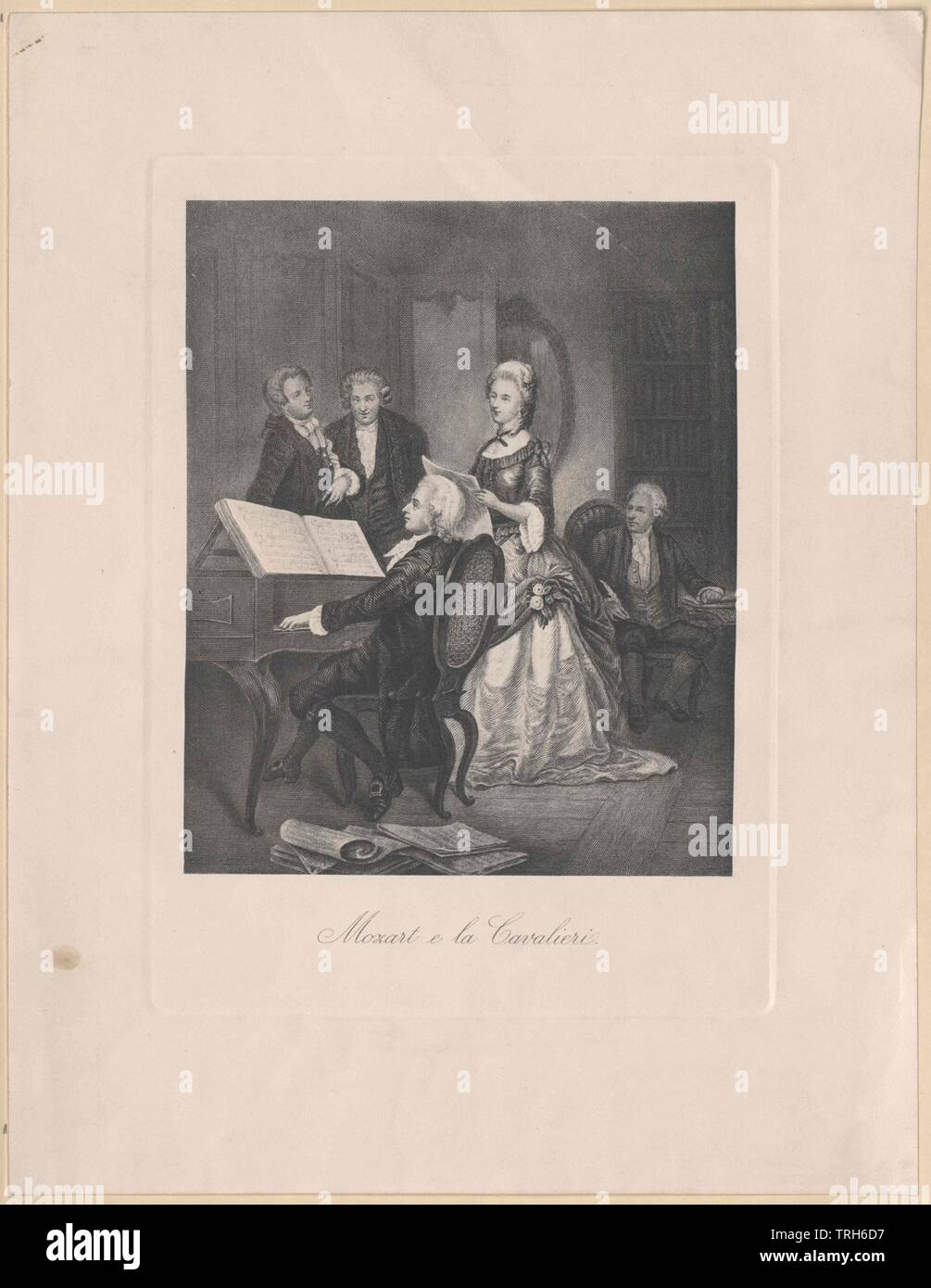 Mozart at piano,group picture, composer, composers, culture, cultures, artist, artists, musicians, personality, celebrities, musician, further, other, Viennese classicism, full-length, full length, 18th century, people, man, men, male, manly, piano, pianos, Additional-Rights-Clearance-Info-Not-Available - Stock Image