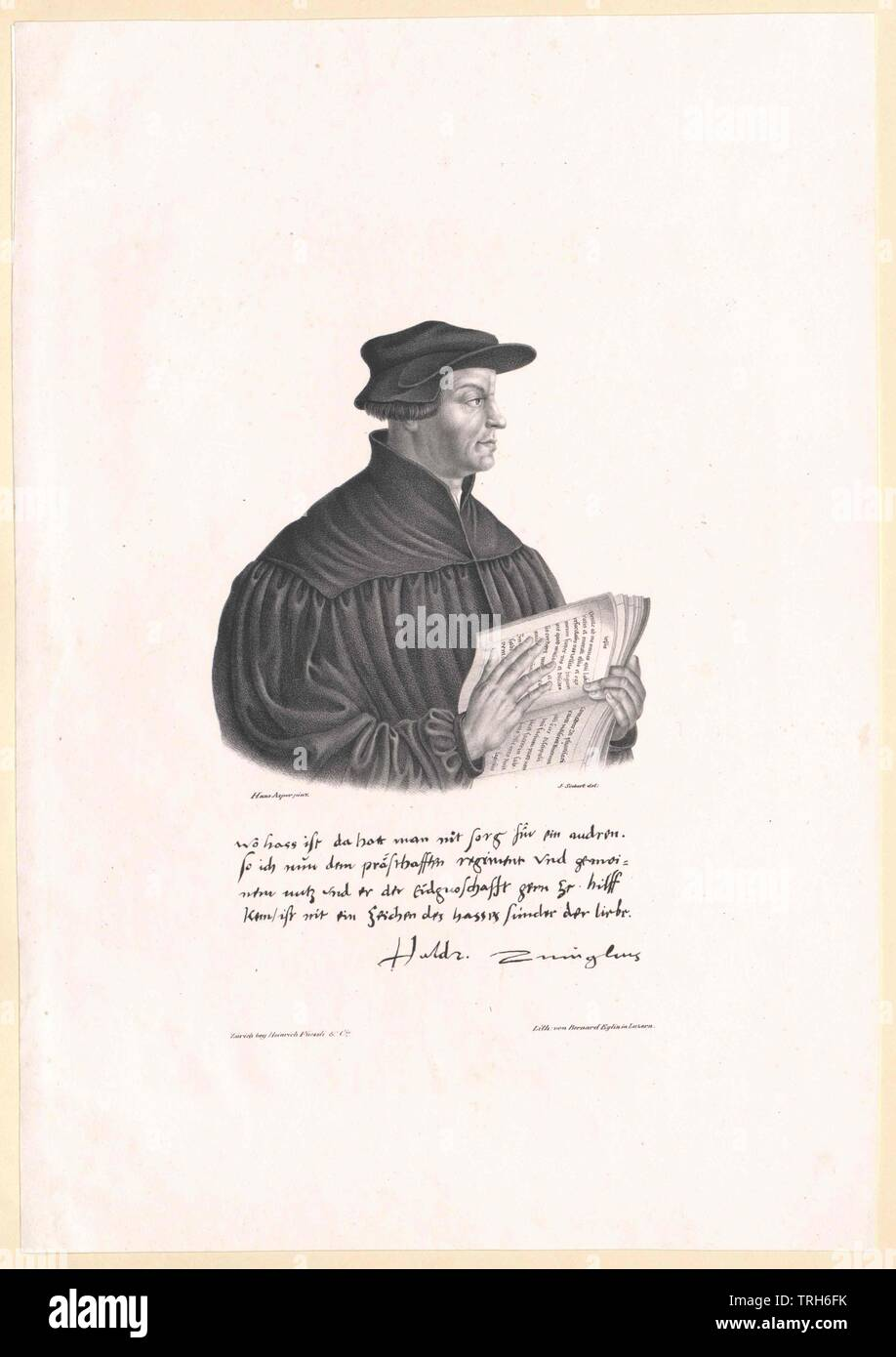 Zwingli, Ulrich,ecclesiastic, chaplain, chaplains, false teachers, reformer, theology, people, 16th century, sixteenth century, the 1500s, half-length, half length, man, men, male, manly, Additional-Rights-Clearance-Info-Not-Available - Stock Image