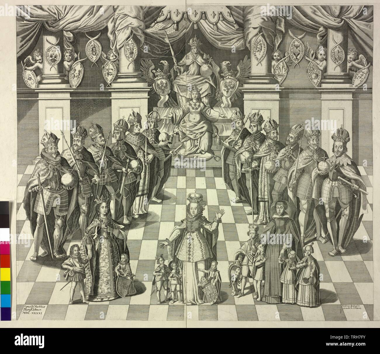 House of Habsburg, The German king and Roman Emperor from the House of Habsburg, Rudolf I - Ferdinand III, Gertrude of Hohenberg (peak) (?), in the foreground the wife King Philipp IV of Spain and Emperor Ferdinand II, as well as the widow Archduke Leopolds V. von Tyrol with their circa 1641 alive progeny, Additional-Rights-Clearance-Info-Not-Available - Stock Image