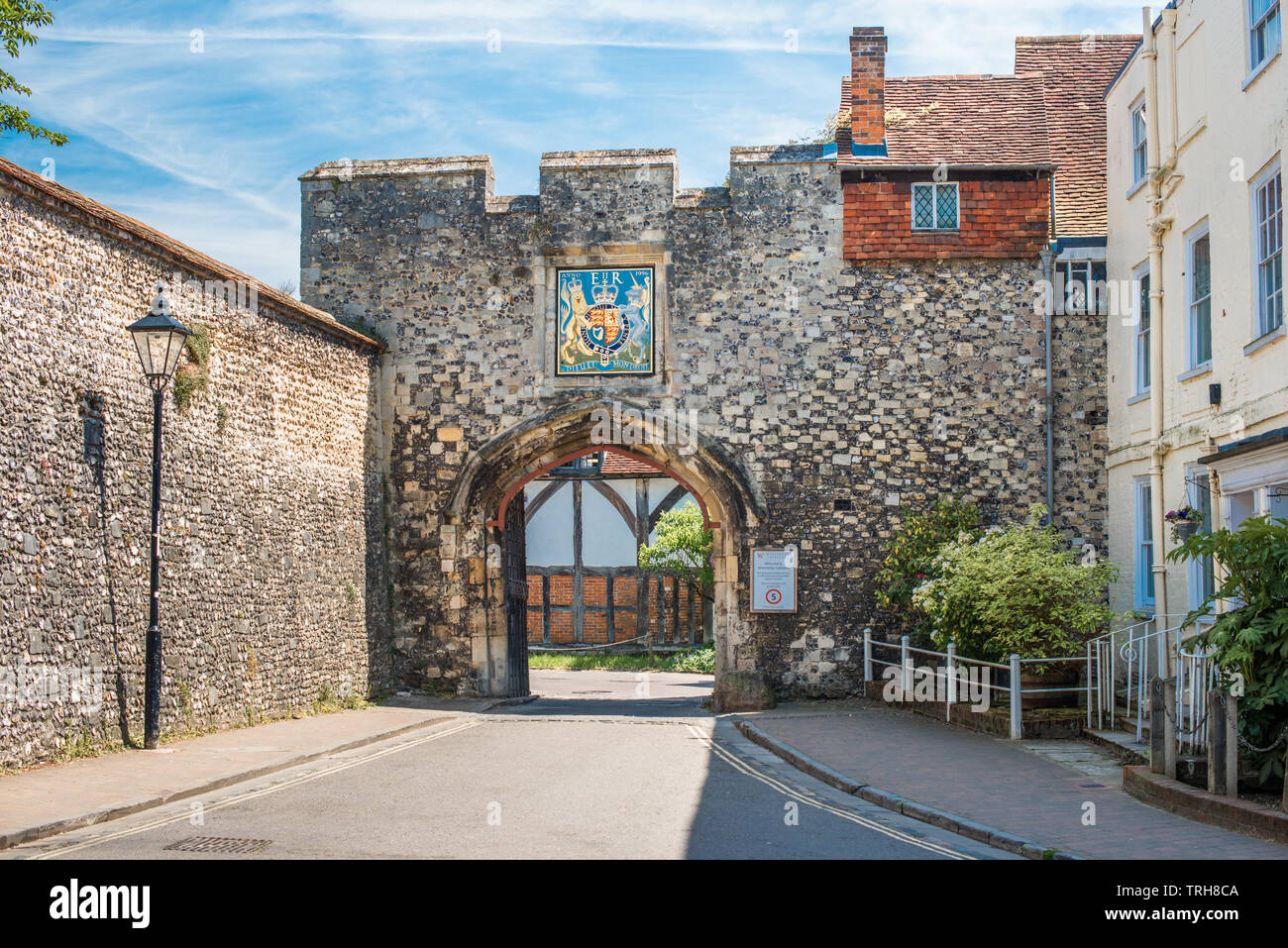 The Priory Gate is a late 15th-century gate once gave access to courtyard of Medieval Priory. Winchester. Hampshire. England. UK. - Stock Image