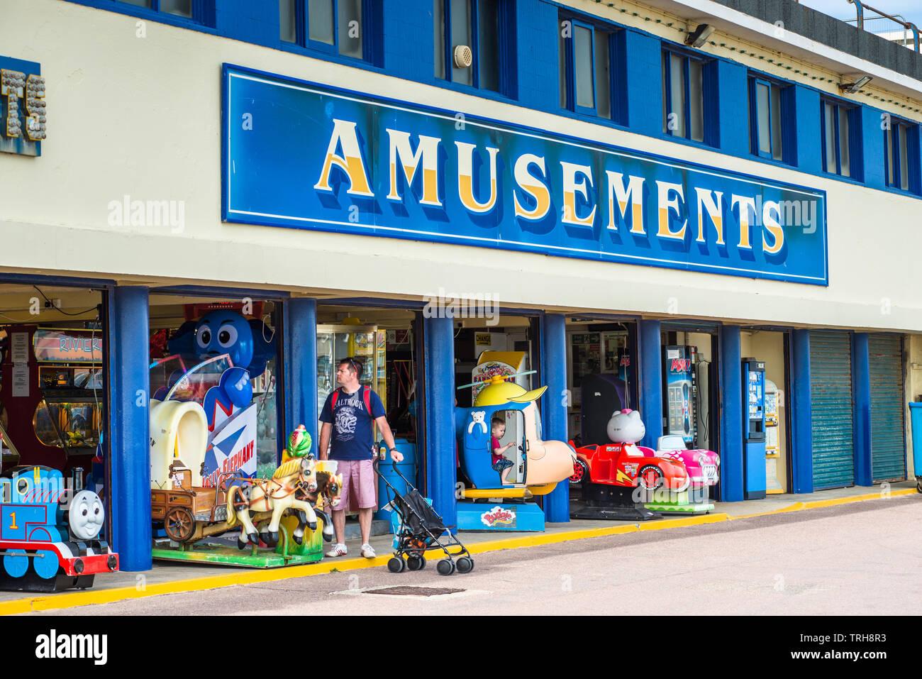 Amusements arcade on Bournemouth seafront in Dorset, England, UK. - Stock Image