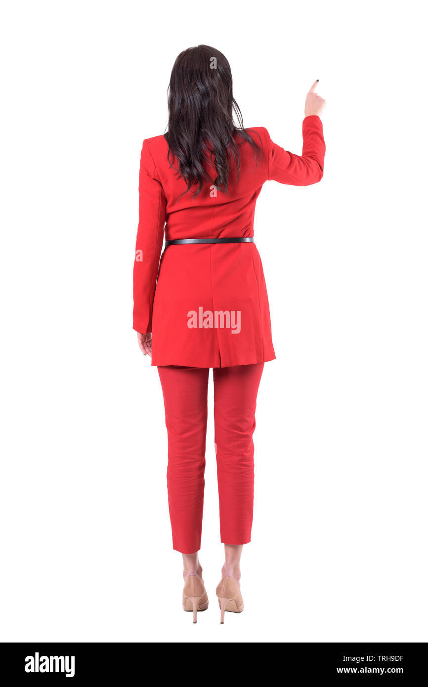 Back View Of Elegant Business Woman In Red Suit Using Touch Screen Full Body Isolated On White Background Stock Photo Alamy
