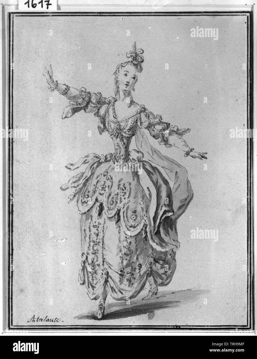 statuette, baroque figurine 'Atalante', copper engraving. Munich, theatre museum, Additional-Rights-Clearance-Info-Not-Available - Stock Image