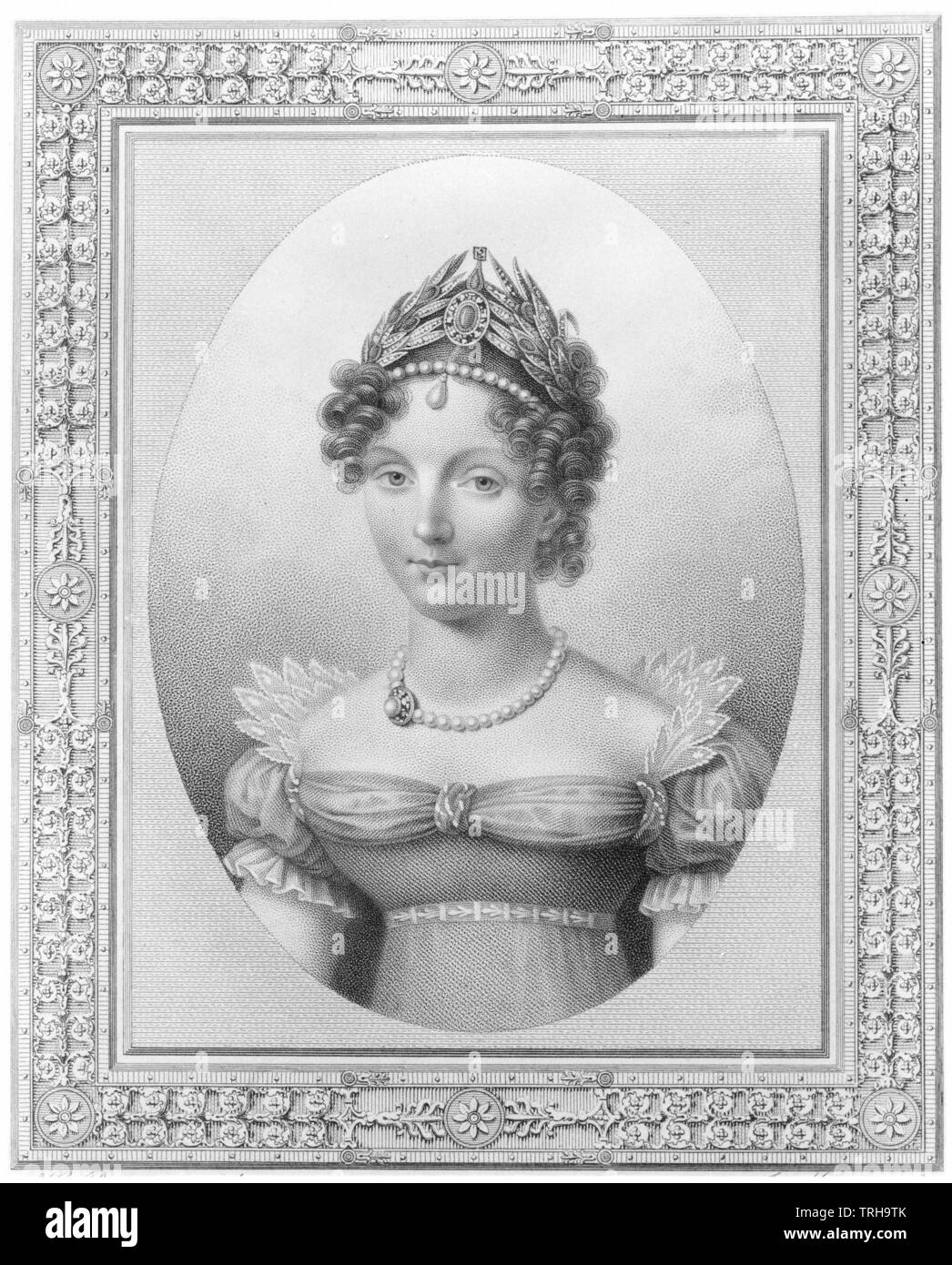 Louise Marie Auguste, princess of Baden 1779 - 1826, picture of the princess Louise Marie Auguste in oval in rectangular ornate frame. stipple engraving by Joseph Mecou based on painting by Henri Benner. Russian and French legend. repro negative based on stipple engraving, Additional-Rights-Clearance-Info-Not-Available - Stock Image