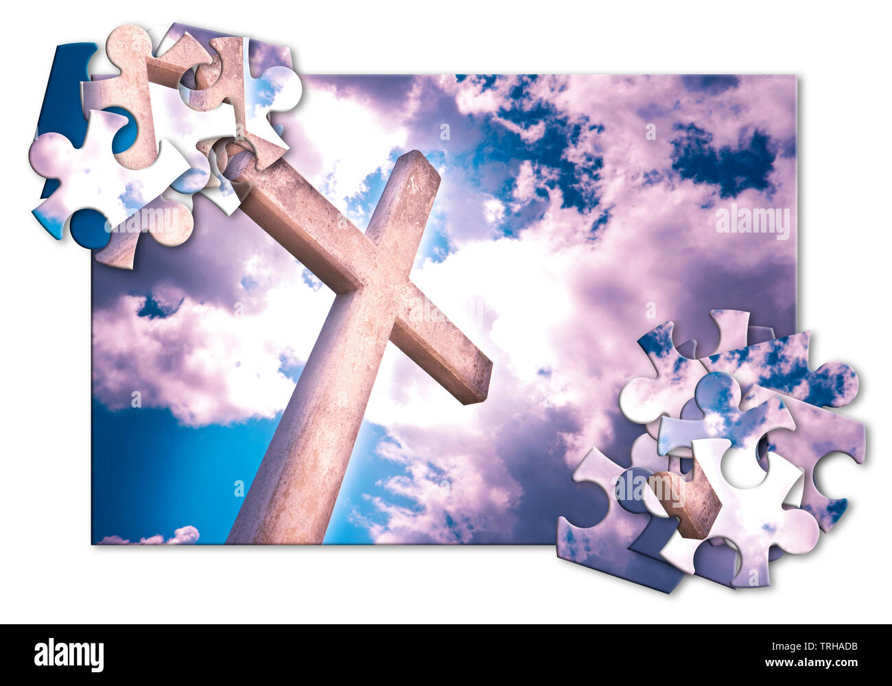 Rebuild our faith or losing faith - Christian cross against a cloudy sky - concept image in jigsaw puzzle shape - Stock Image