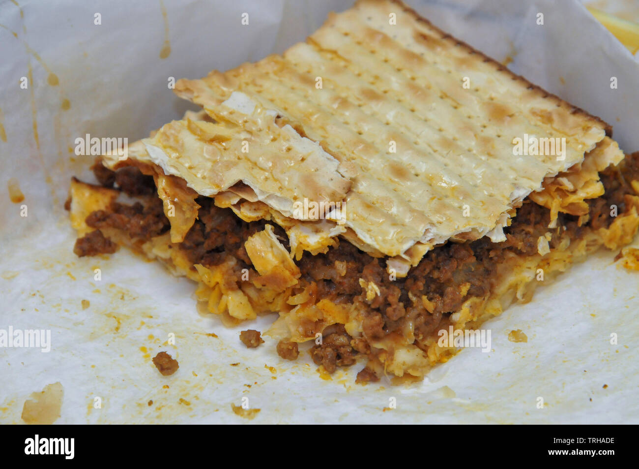 Kosher Matzo Sandwich fit for eating during the week of Pesach / Passover - Stock Image