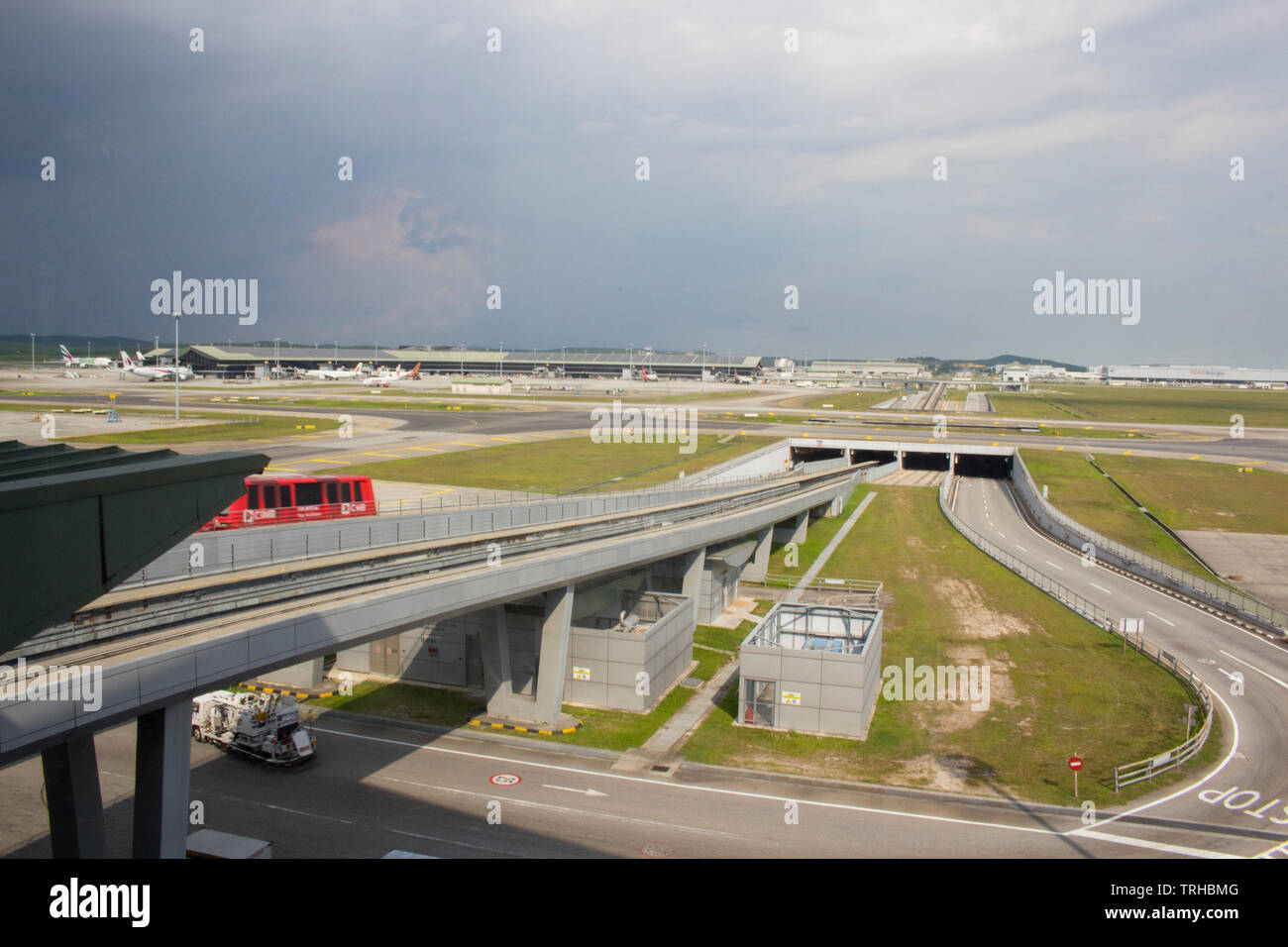 Airport rail link service between KL Sentral and the KLIA station in Malaysia Airport and CIMB train. - Stock Image