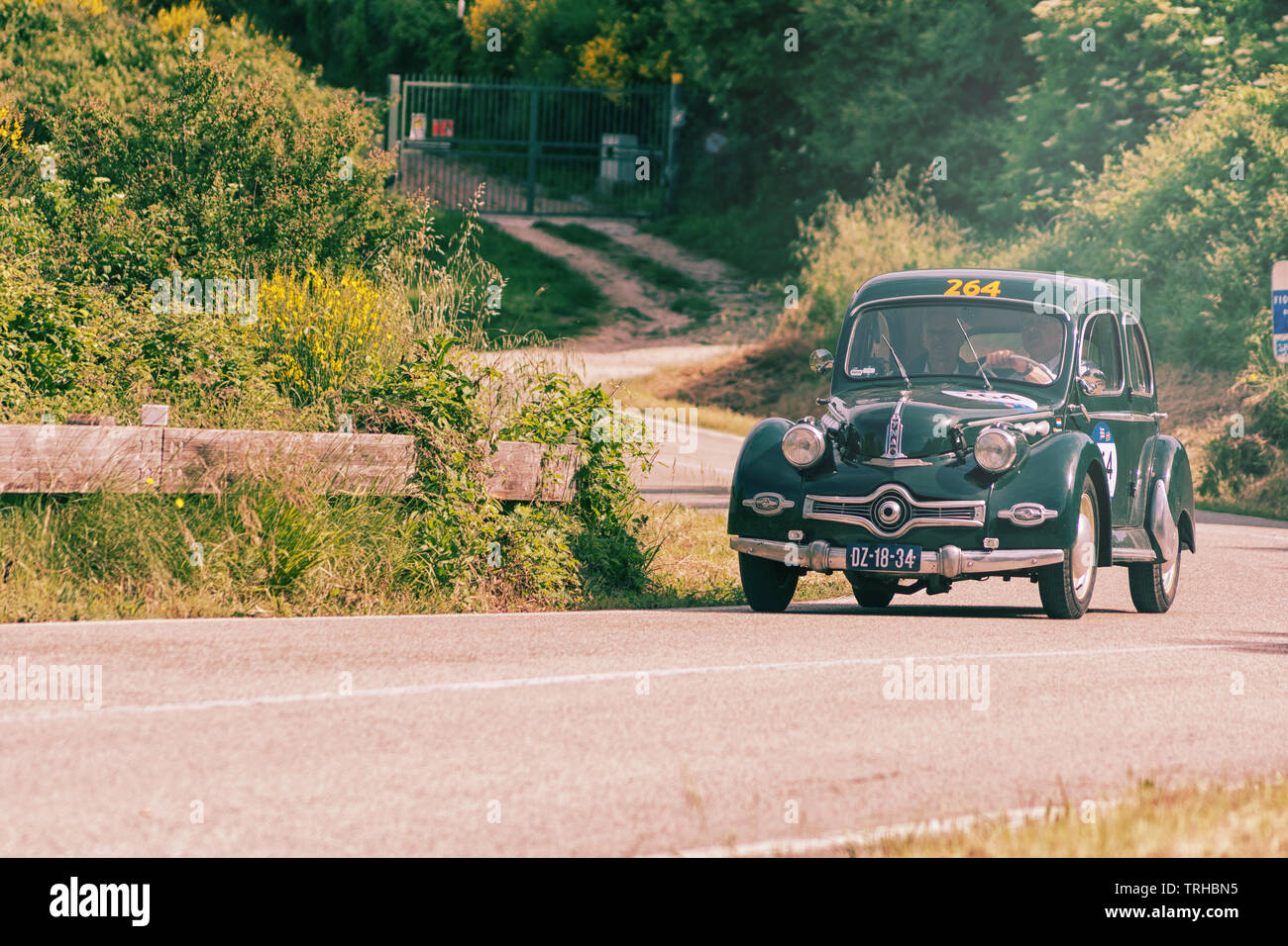 PESARO COLLE SAN BARTOLO , ITALY - MAY 17 - 2018 : PANHARD DYNA X86 1952 on an old racing car in rally Mille Miglia 2018 the famous italian historical - Stock Image