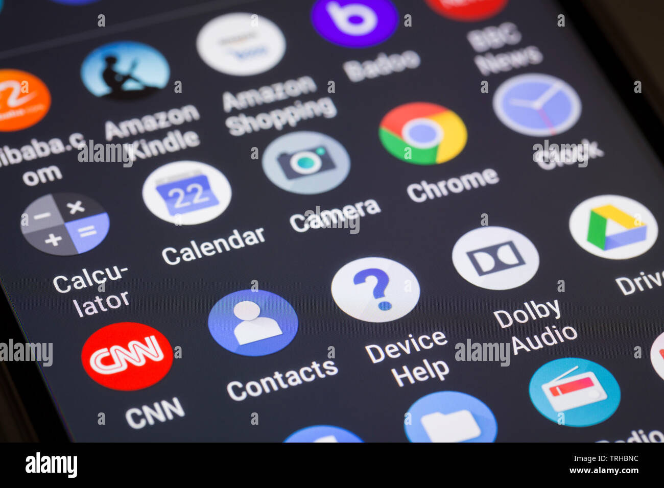 App logos on mobile phone screen Stock Photo