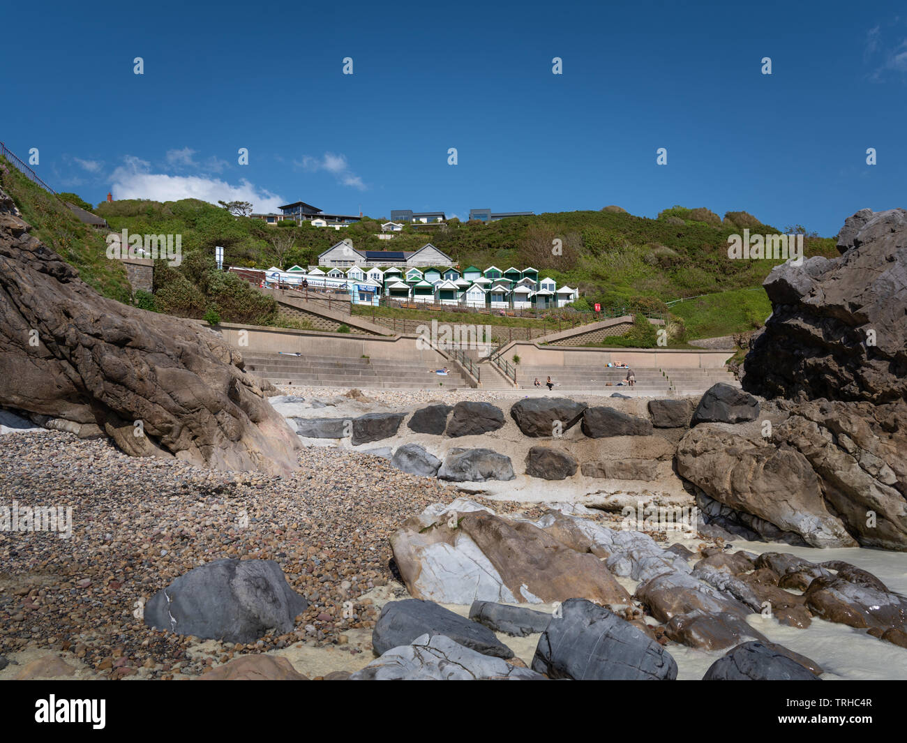 Rotherslade Bay beach, East Langland Bay, Wales, UK Stock Photo