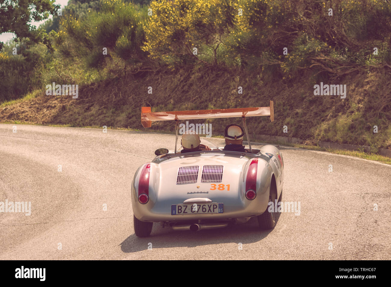 PESARO COLLE SAN BARTOLO , ITALY - MAY 17 - 2018 : PORSCHE 550 SPYDER 1500 RS 1955 on an old racing car in rally Mille Miglia 2018 the famous italian - Stock Image