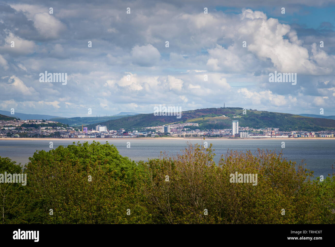 Swansea city view from Mumbles, Wales, UK Stock Photo