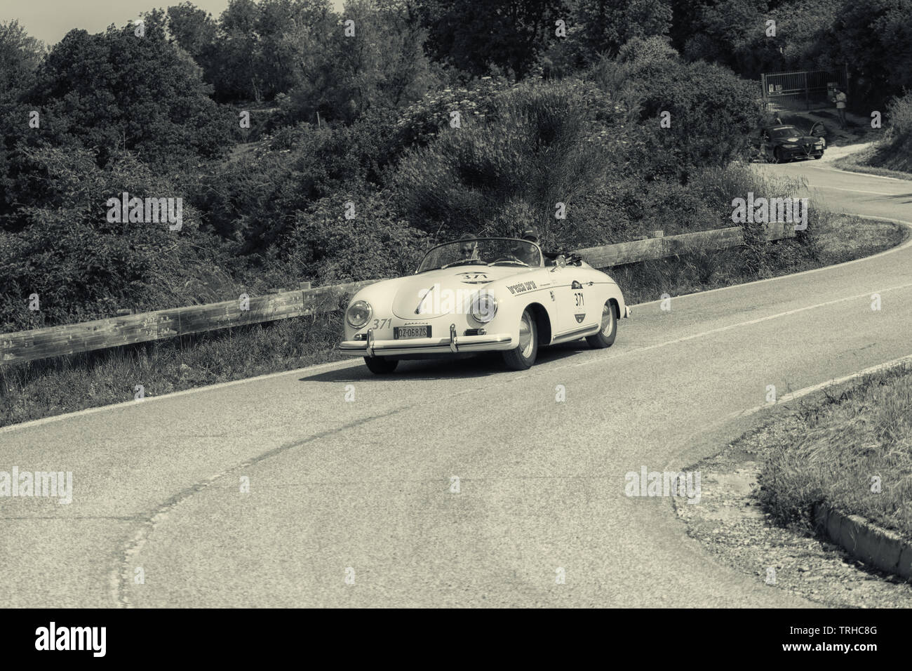 PESARO COLLE SAN BARTOLO , ITALY - MAY 17 - 2018 : PORSCHE 356 1500 SPEEDSTER 1955 on an old racing car in rally Mille Miglia 2018 the famous italian - Stock Image