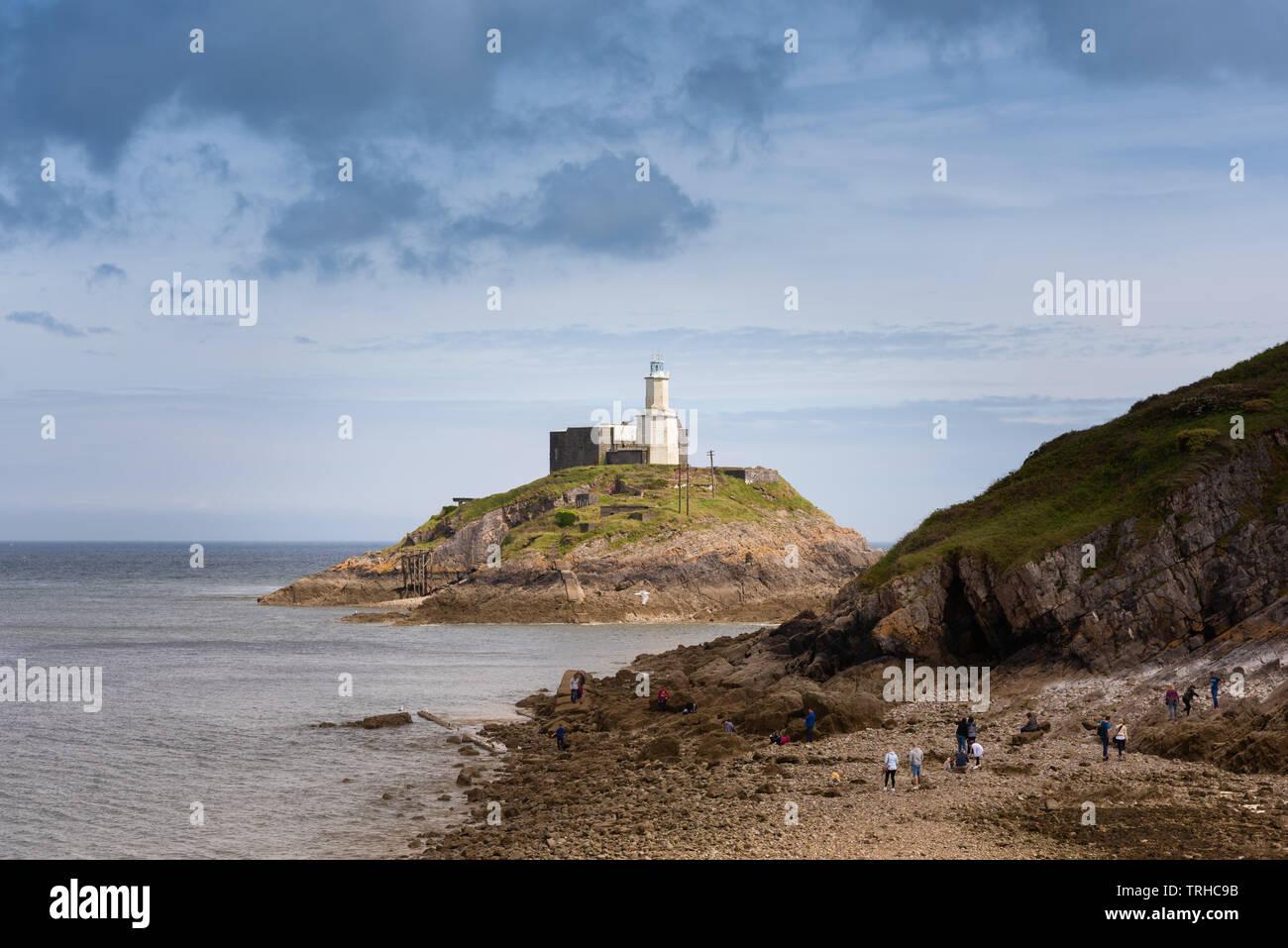 Mumbles Lighthouse, Wales, UK Stock Photo