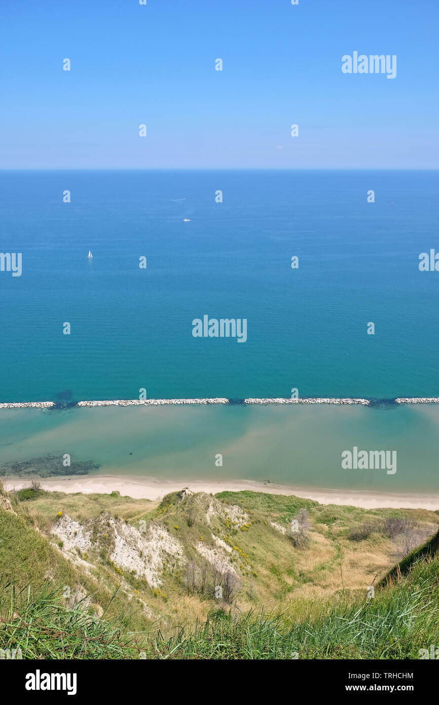 Panoramic view from the village Fiorenzuola di Focara to the Adriatic Sea in the Parco Naturale Monte San Bartolo in the province Marche, Italy. - Stock Image