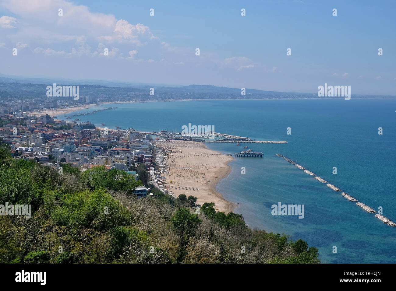 View to the Adriatic coast with Gabbice Mare and Cattolica from the Parco Naturale Monte San Bartolo in the province Marche, Italy. - Stock Image