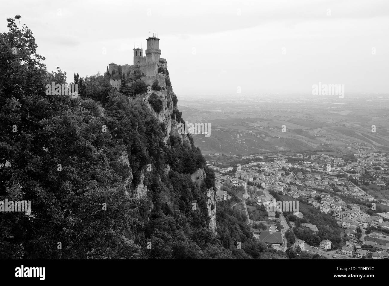 View of the castle and the surrounding area of San Marino Citta. - Stock Image