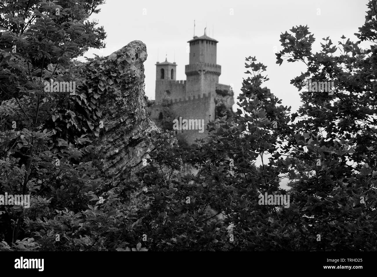 View of the castle of San Marino Citta. - Stock Image
