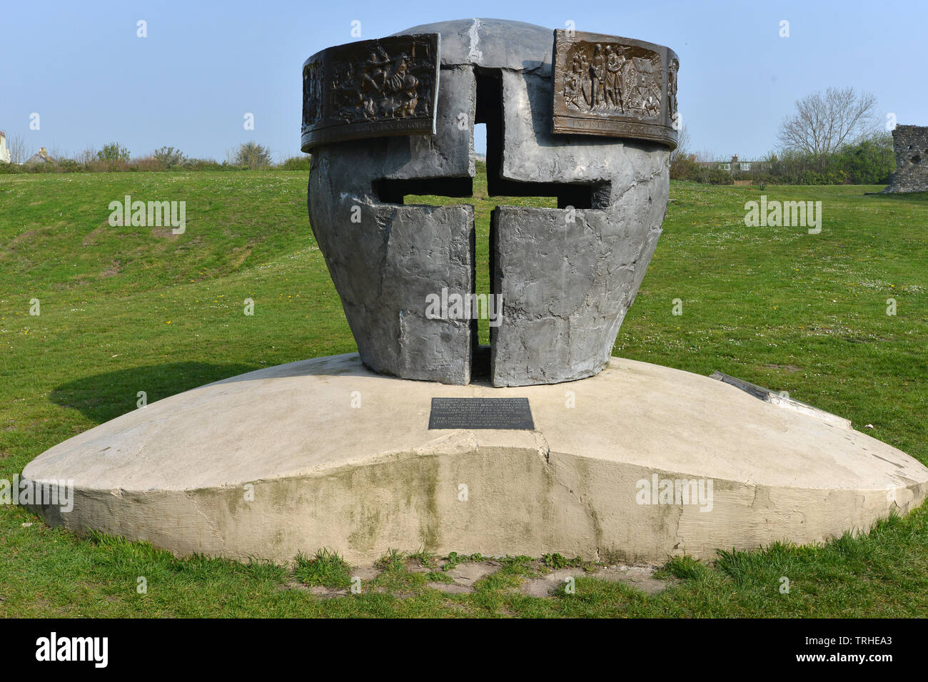 Battle of Lewes memorial, by Enzo Plazzotta, Lewes Priory ruins, East Sussex, UK - Stock Image