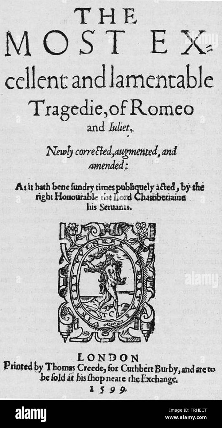 ROMEO AND JULIET by William Shakespeare in the single volume edition of 1599 - Stock Image