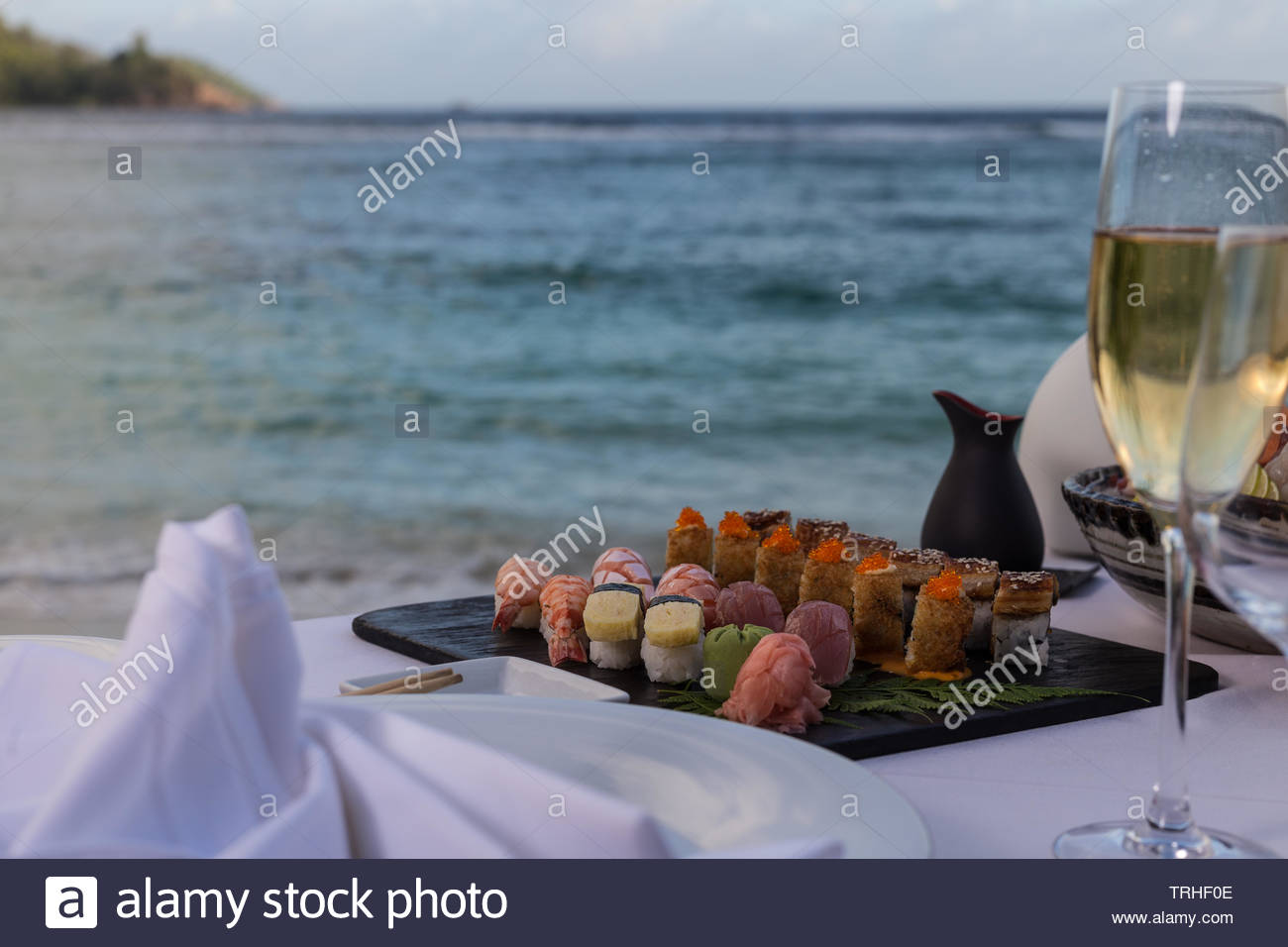Best Sushi at the beach on the seychelles - Stock Image