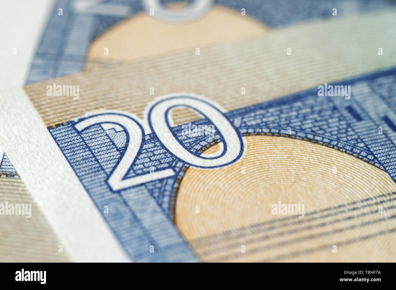 Fragment of twenty euro bills closeup. Shalloe depth of field Stock Photo