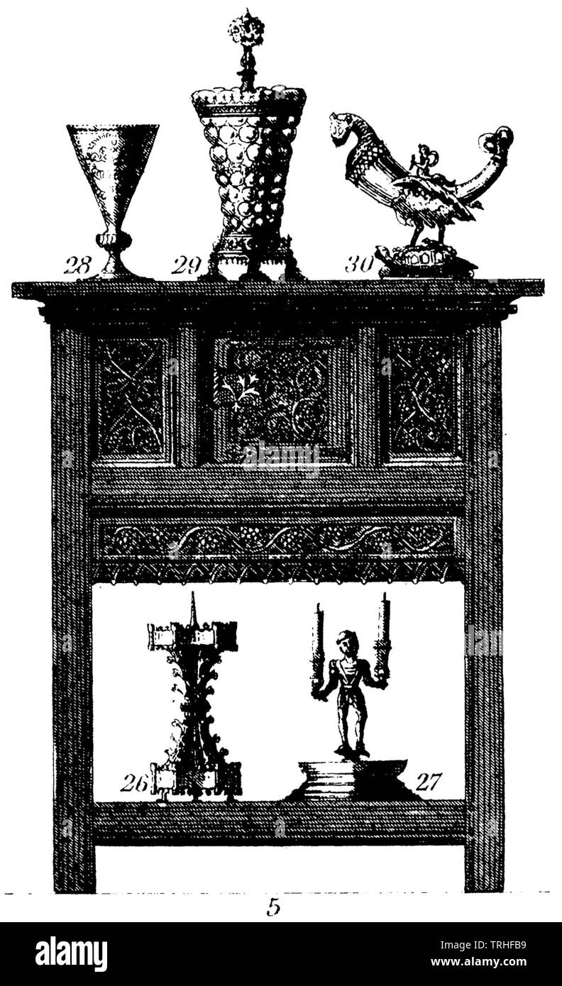 Kredenzschrein (16th century). Devices below: Candlestick (around 1500), top: Drinking utensils (15th and 16th century), ,  (cultural history book, 1875) - Stock Image