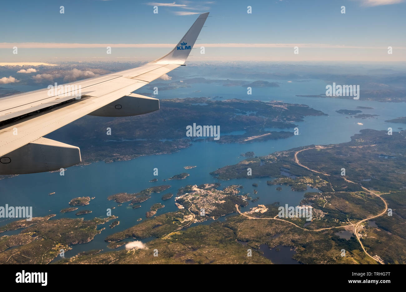Approach to Bergen airport, view over the fjords of the fjords of Bergen, Blomsterdalen, Kokstad, Hordaland, Norway, Scandinavia, Europe, NOR, travel, Stock Photo