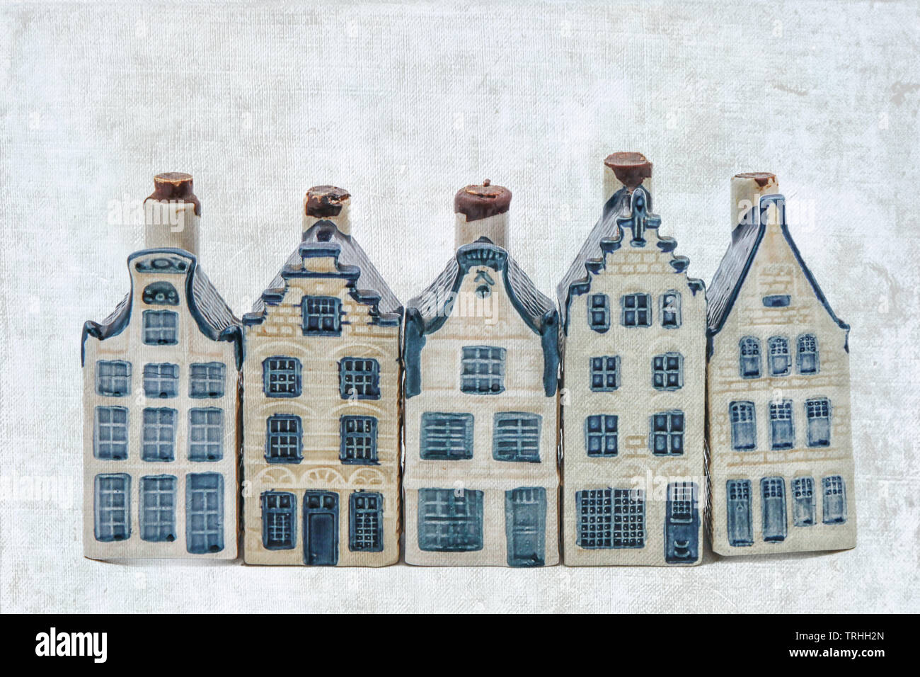 Row of five delft blue houses isolated on white - Stock Image