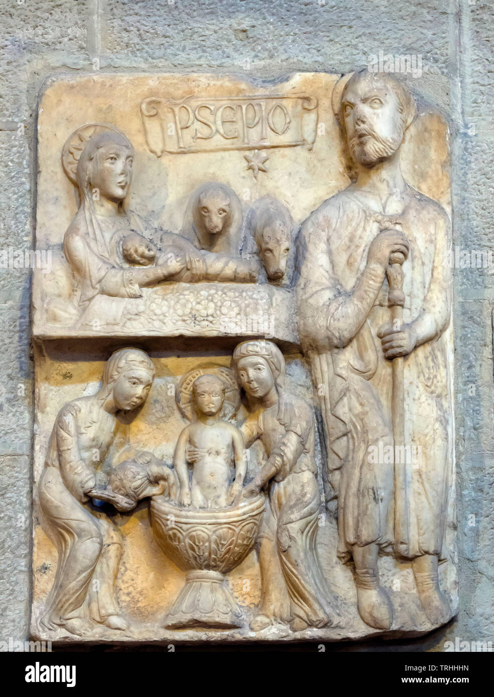 Nativity Scene, 13th century,  stone carving, Santa Maria della Pieve, Arezzo, Tuscany, Italy, Europe Stock Photo