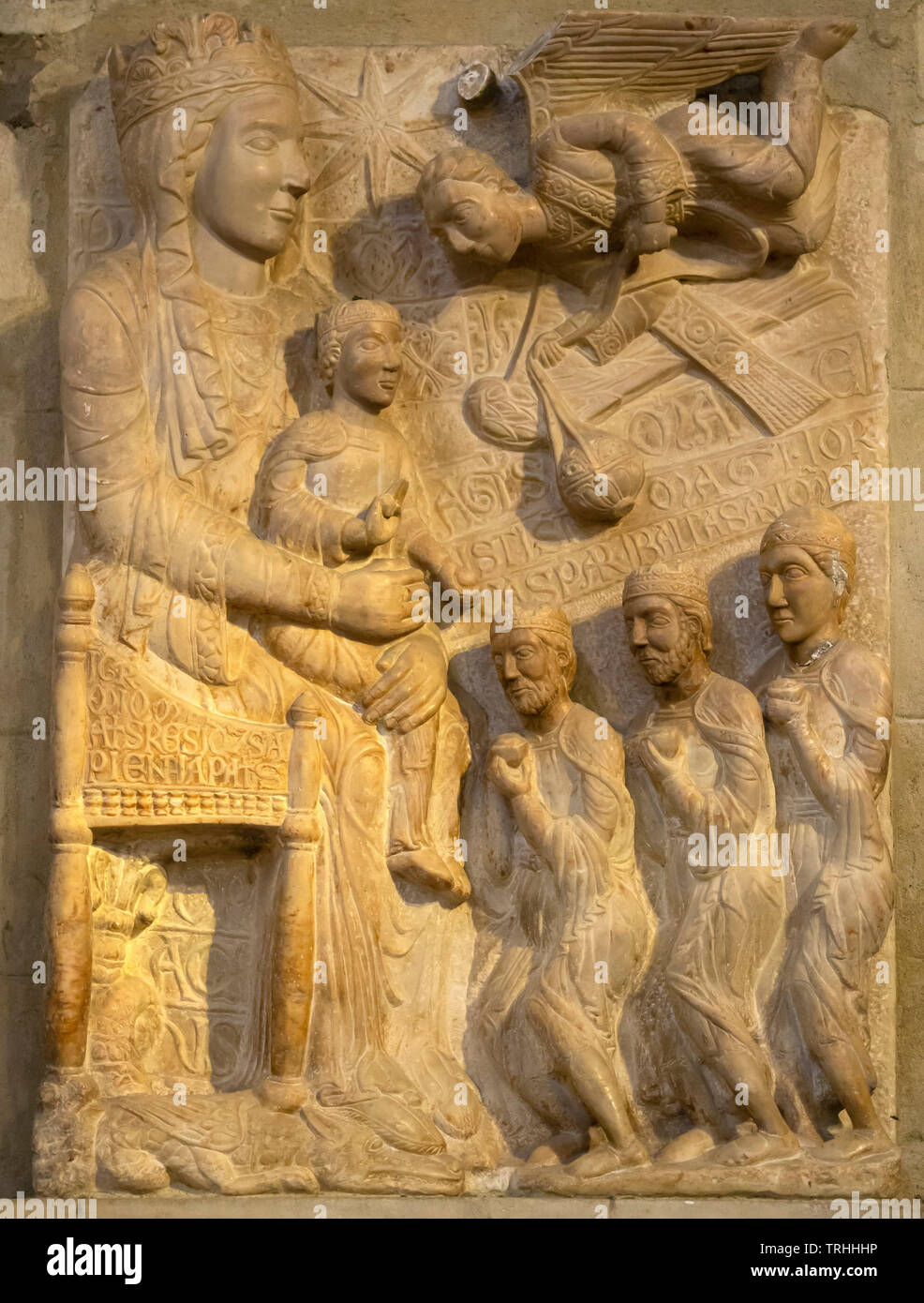 Adoration of the Magi, 13th century,  stone carving, Santa Maria della Pieve, Arezzo, Tuscany, Italy, Europe Stock Photo