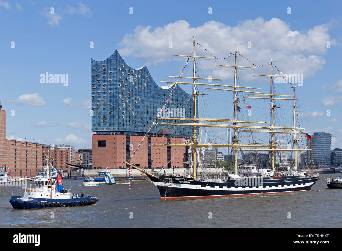 sailing ship in front of Elbe Philharmonic Hall, 830. Harbour Birthday, Harbour, Hamburg, Germany - Stock Image