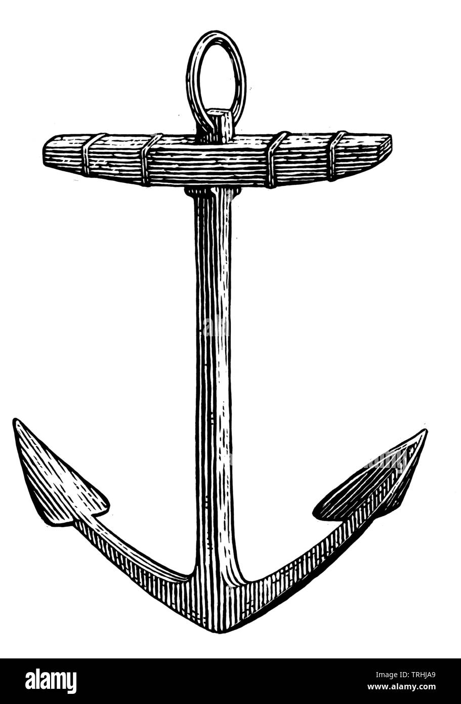 Anchor on white background - Stock Image