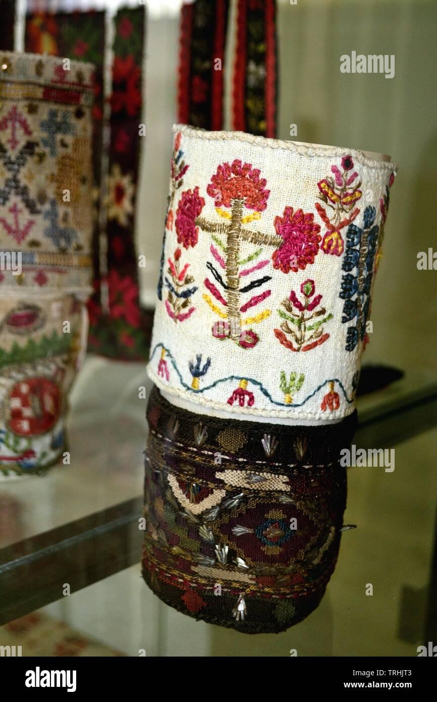 Typical embroideries - Museum of History in KAZANLAK. Province of Stara Zagora.BULGARIA - Stock Image