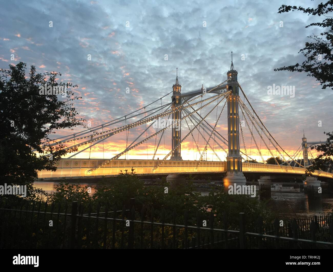 Sunset Albert Bridge London 2 - Stock Image