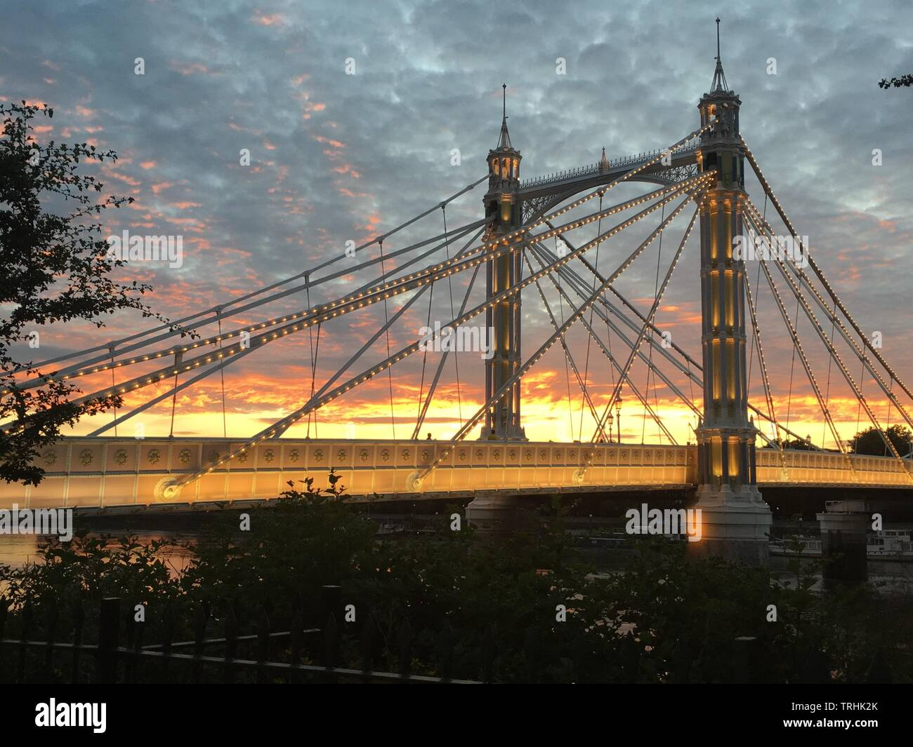 Sunset Albert Bridge London 1 - Stock Image